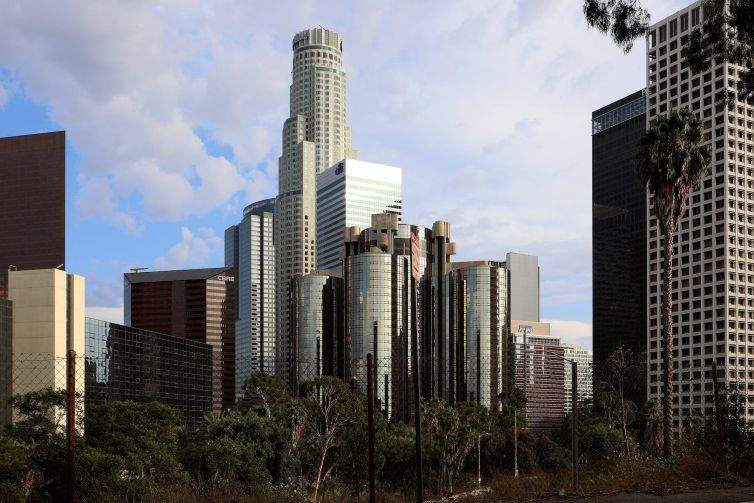 U.S. Bank Tower rises high above other downtown buildings in Los Angeles.