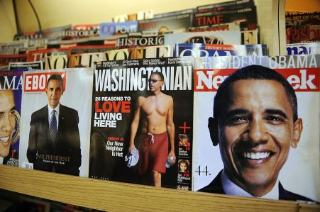 The Washingtonian and various magazines with cover photos of US president Barack Obama are seen at a news stand April 23, 2009 in Washington, DC.