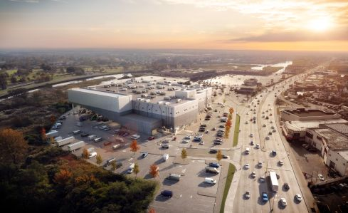 A rendering of the JFK Logistics Center to be occupied by Amazon.