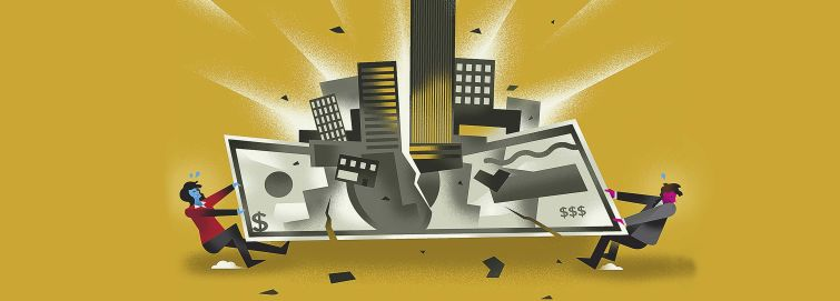 Money and buildings pulled apart by two people