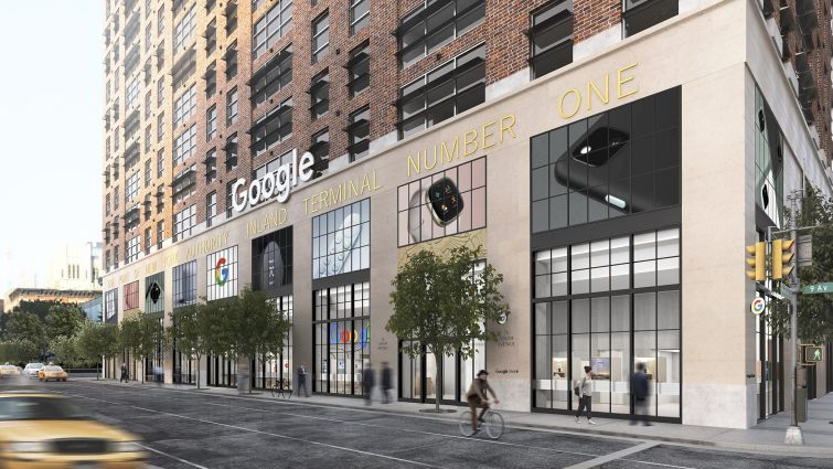 A rendering of Google's planned store in Chelsea. It's a tan building with big windows and images of Google products above them.