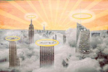New york city skyline with clouds