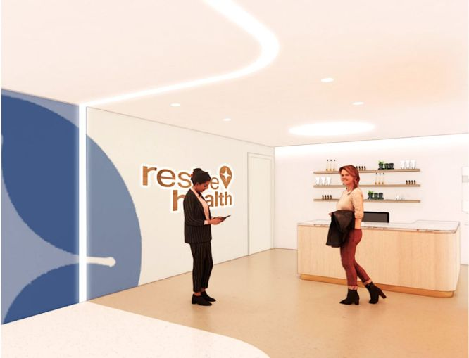 Reside Health's first location in Carnegie Hill Tower is a doctor's office designed to look like a spa or yoga studio.