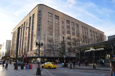 The landmarked former Macy's building at 300 Pine Street in Downtown Seattle.