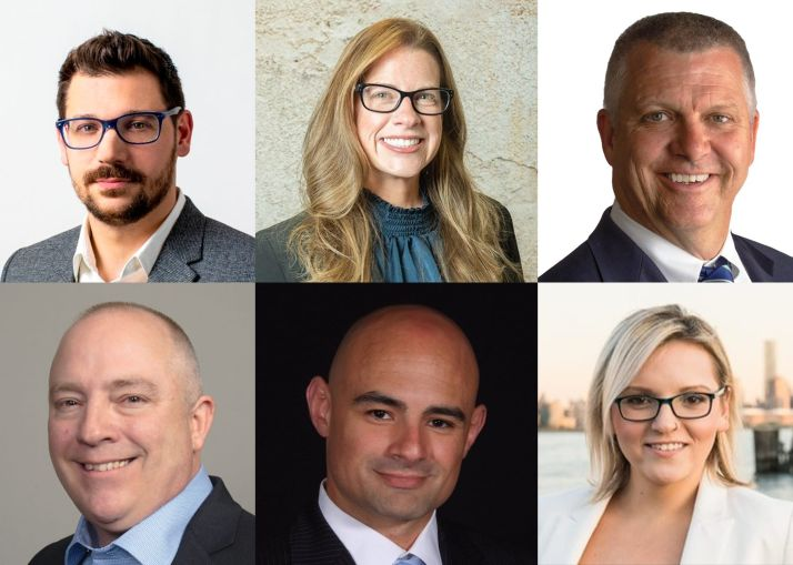 Clockwise from top left: John Anthal of Mancini Duffy, Amanda Clappsy of Holt Construction, Jay Fraser of Turner Construction, Iga Wyrzykowski of XpresSpa, Ryan Marzullo of Delta Airlines and James Kissmer of JFKIAT.