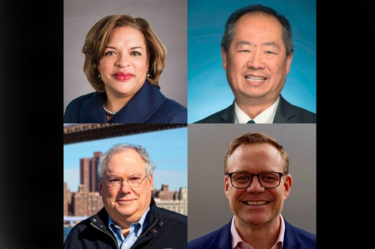 Clockwise from top left: Kimberly Slaughter of SYSTRA, Phil Eng of Long Island Railroad, John McCarthy of the MTA and Hank Gutman of NYC Department of Transportation.