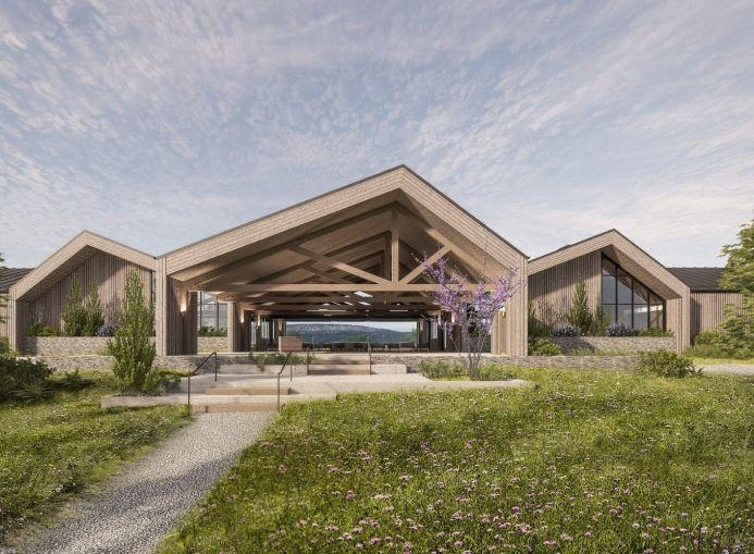 A rendering of SY Holdings' planned Wildflower Farms hotel development in Gardiner, N.Y.