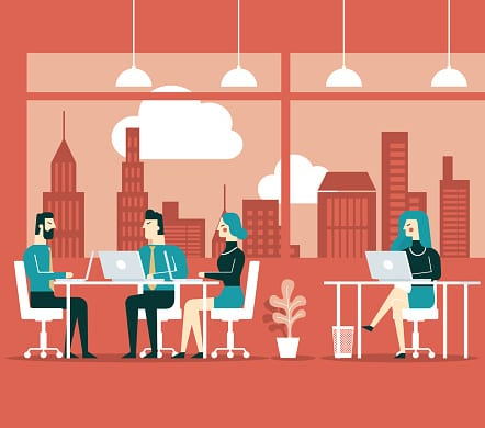 Illustration of people in a business meeting.