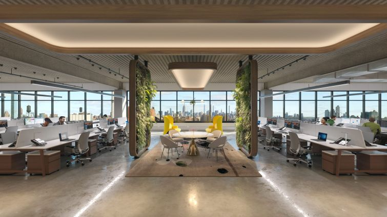 The Brooklyn Navy Yard created lush renderings for a potential buildout of the top floor of the new Building 303 in hopes of luring new creative office tenants to the yard.