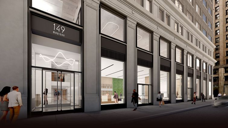 The first two floors of the facade are being redone to create larger windows and a new lobby with two entrances.