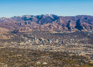 An aerial view of Salt Lake City and some of its surrounding areas.