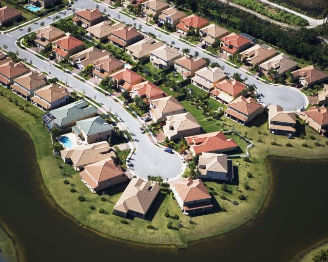 An aerial view of a residential housing development.