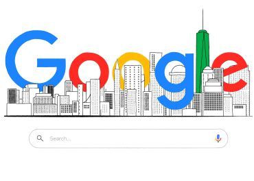 """An illustration of the word """"Google"""" around buildings."""
