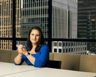 Katie Keenan sits in Blackstone's office at 345 Park Avenue.