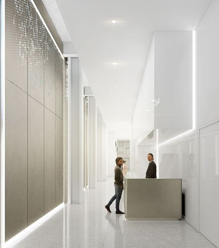 The new lobby will have a minimalist look with a shimmering LED wall.