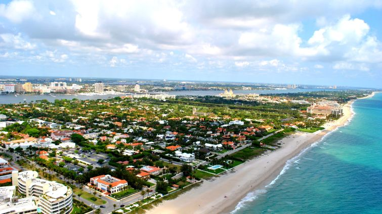 An aerial shot of Palm Beach, Fla.
