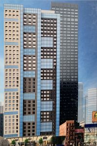 A rendering for McSam Hotel Group's development at 150 W 48th Street.