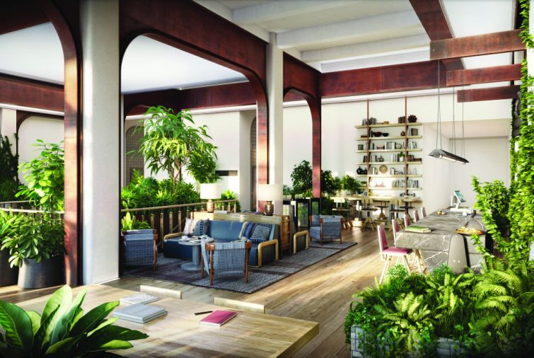 A former textile showroom building at 295 Fifth Avenue is getting a $350 million renovation that includes a new lobby lounge and coffee bar with plenty of greenery and soft seating.