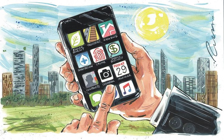 Illustration of someone using a smartphone with apps.