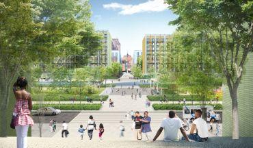 A rendering of the Kingsboro Psychiatric Center development in East Flatbush, Brooklyn.