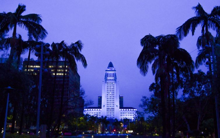 Los Angeles City Hall is bathed in blue lighting as part of the #LightItBlue for health workers movement on April 09, 2020.