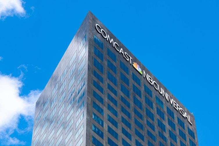 General views of the Comcast NBC Universal corporate offices in Universal City, California.