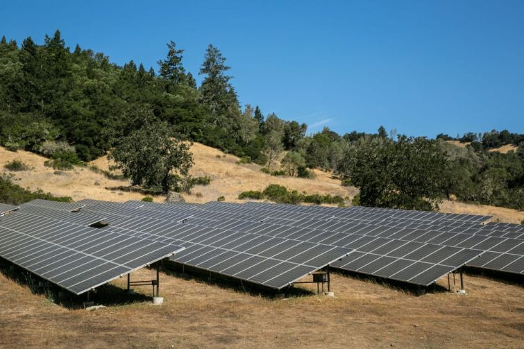 Solar panel array in Napa Valley, California.