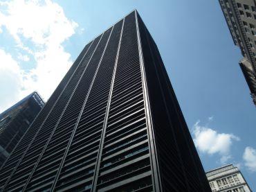 A tall, boxy skyscraper.