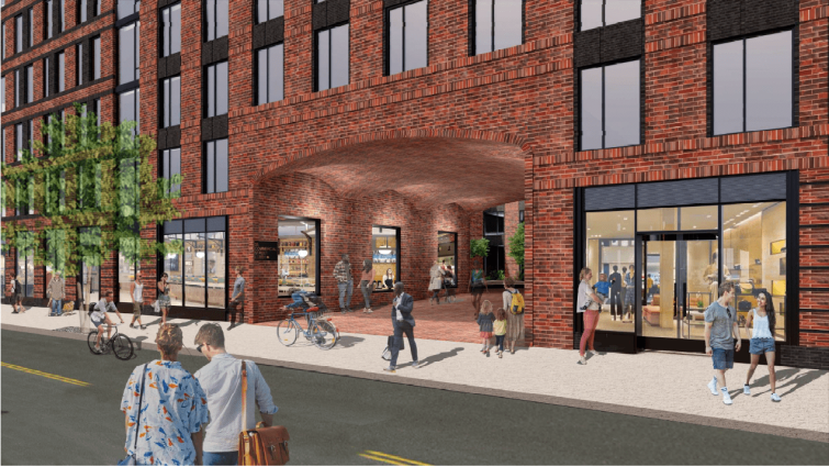 A rendering of the 35 Commercial Street affordable housing development in Greenpoint, Brooklyn,