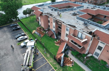 Collapsed roof of Lakeview Gardens Credit: Miami-Dade Fire Rescue Department