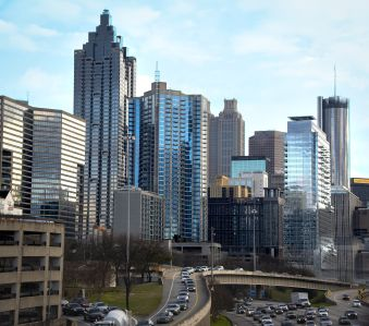 Downtown Atlanta, the suburbs of which house most of the offices in this Adventus Realty Trust portfolio.