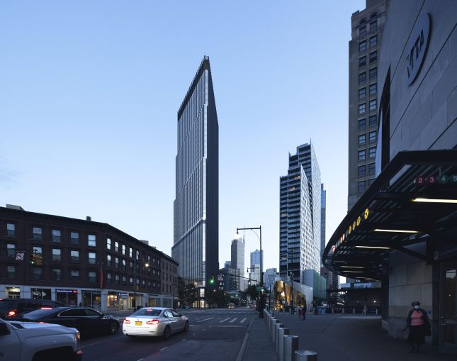 A rendering that shows a view of the Alloy Block development from Atlantic Terminal in Downtown Brooklyn.