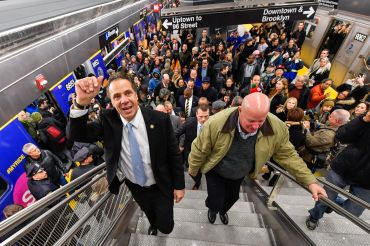 Former Gov. Andrew Cuomo and then-MTA Chairman Tom Prendergast open the Second Avenue Subway on Jan. 1, 2017.