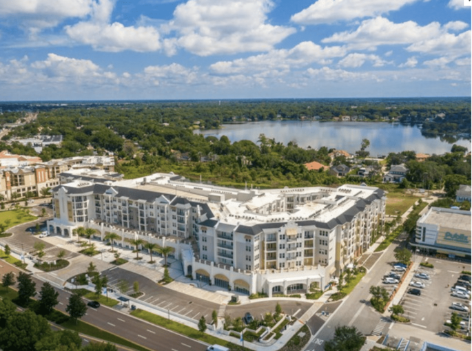 An aerial image of 400 North Apartments.