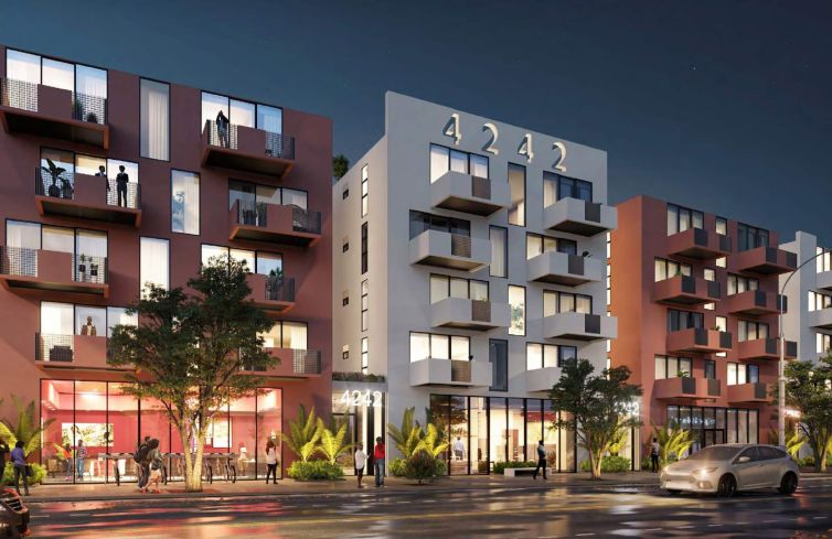 Renderings of a planned mixed-use project with 124 apartment units