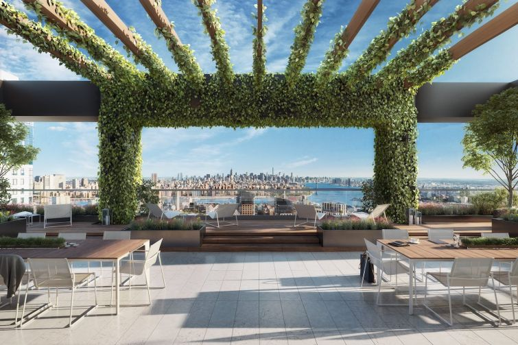 A terrace at One Willoughby Square, a new office tower in downtown Brooklyn.