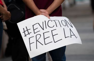 Renters and housing advocates attend a protest to cancel rent and avoid evictions amid the Coronavirus pandemic last year in Los Angeles, California.