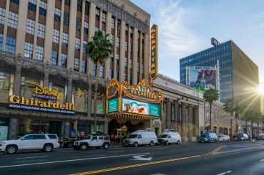 The El Capitan Theatre on Hollywood Boulevard is seen earlier this year playing 'Raya and the Last Dragon' on its first day of reopening since it was closed in 2020 due to local COVID-19 restrictions.