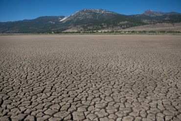 A dried-up lake in Washoe City, NV, July 2021.