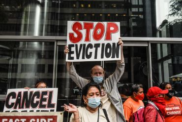 Protest against the end of the eviction moratorium.