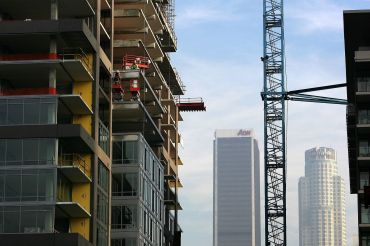 Construction of new high-rise loft buildings in Downtown Los Angeles.