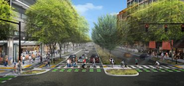 Rendering of proposed walkable area along Route 1 in National Landing.