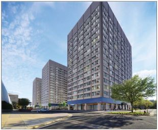 A rendering of the converted former office buildings in the Skyline complex in Falls Church, Va.