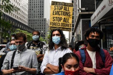 New York city protestors push for a moratorium on evictions on August 4, 2021.