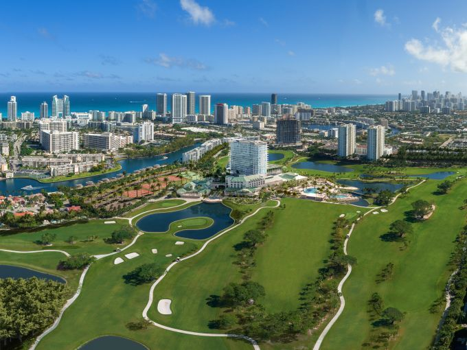 An aerial view of The Diplomat Golf Club and Residences in Hallandale Beach, Fla.