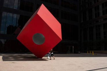Isamu Noguchi's Red Cube in front of 140 Broadway.