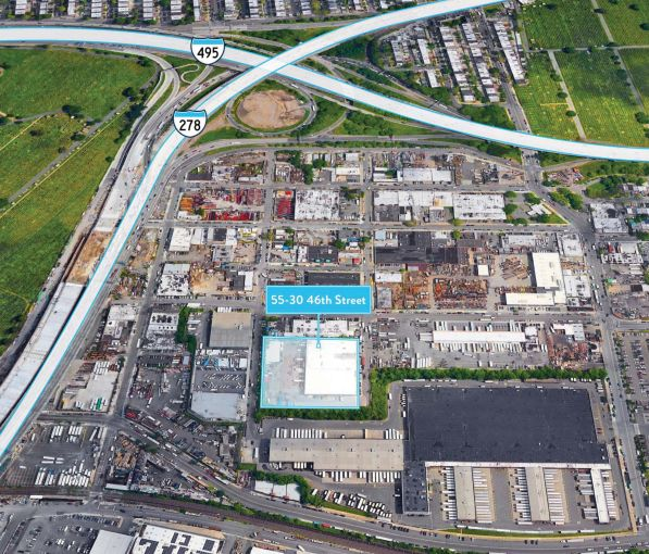 An aerial view of the location of the industrial property at 55-30 46th Street in Maspeth, Queens.