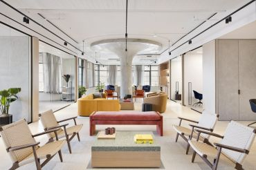 Fogarty Finger handled the design of this prebuilt suite on the fifth floor. Other tenants liked the look so much that they asked for similar spaces in the building, complete with furniture.