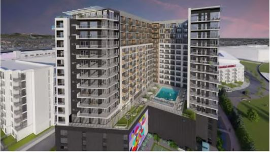 A rendering of Cypress' planned multifamily project at 2600 Wewatta Way in Denver.
