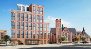 A rendering for a planned 113-unit apartment building at 982-988 Fulton Street in Clinton Hill, Brooklyn.